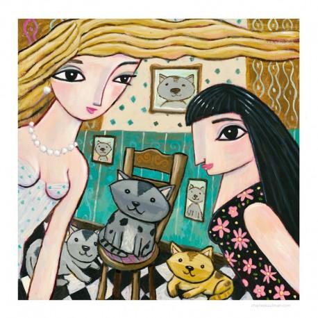 """3D Grafik: """"2 Women & 3 Cats"""""""