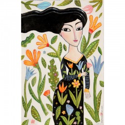 """Giclée-Druck auf Leinwand: """"Flowers in her Hat""""""""Woman with Flowers"""""""