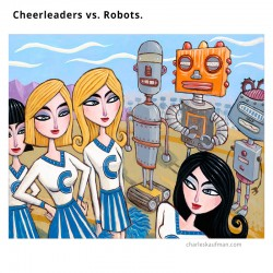 "Giclée Print on Canvas: ""Cheerleaders vs. Robots"""