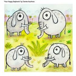 "3D Graphic: ""Four Happy Elephants"""