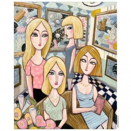 "Giclée-Druck auf Leinwand:  ""Four Women and the Art Museum"""