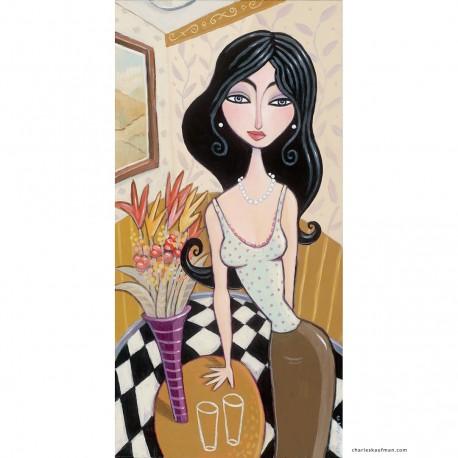 """Giclée Print on Canvas: """"Flowers on a Table"""""""