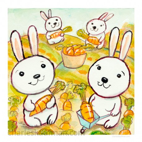 "3D Graphic: ""Rabbits in a Carrot Field"""