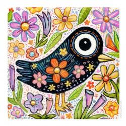 "3D Grafik: ""Bird & Spring Flowers"""