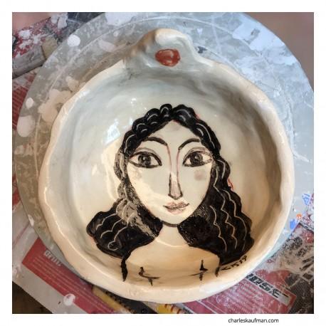 """Sculpture: """"Bowl - Black Hair"""""""