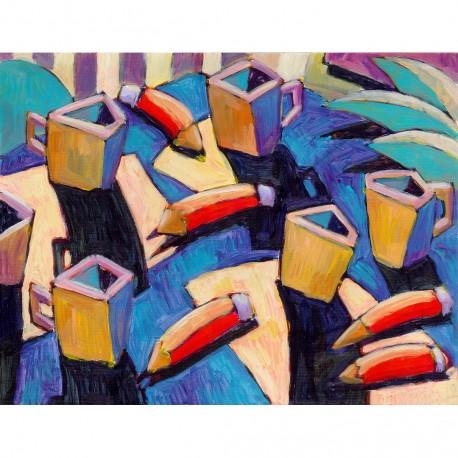 "Giclée-Druck auf Leinwand: ""Pencils and Cups"""