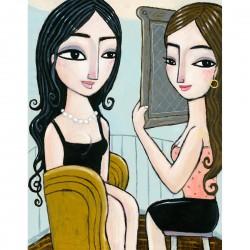 """Giclée-Druck auf Leinwand: """"Looking in the Mirror"""""""