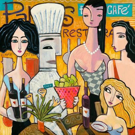 """Giclée-Druck auf Leinwand: """"In the Restaurant"""""""