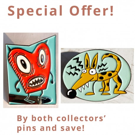 "Special offer! ""Red"" plus ""Elektro-Dog"" Enamel Pins!"