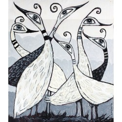 "Giclée Print on Canvas: ""Six Birds Standing in a Field"""