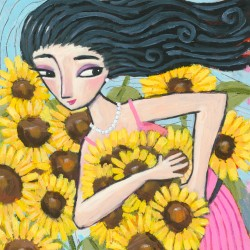 "Giclée Print on Canvas: ""Picking Sunflowers"""