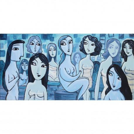 "Giclée Print on Canvas: ""In The Blue Sauna"""