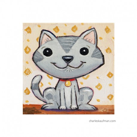 "3D Graphic: ""Smiling Grey Cat"""