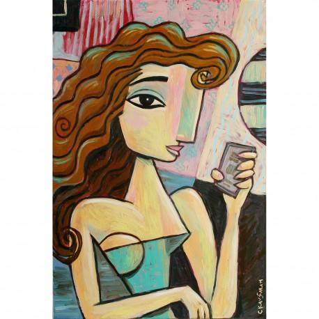 "Giclée Print on Canvas: ""Woman Holding a Cellphone"""