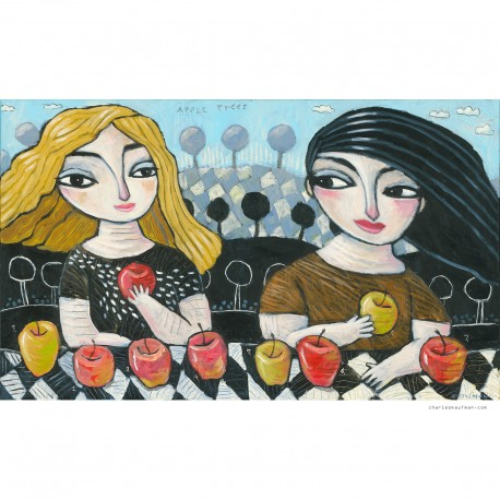 "Giclée Print on Canvas: ""Counting the Apples"""