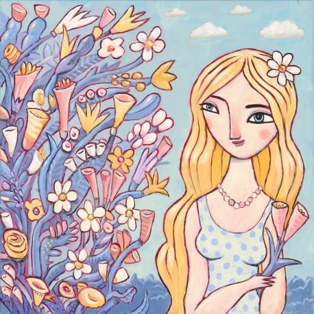 "Giclée Print on Canvas: ""Enjoying the Flowers"""