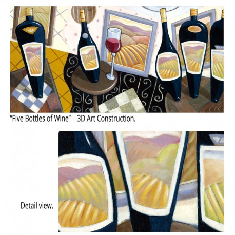 "3D Grafik: ""Five Bottles of Wine"""