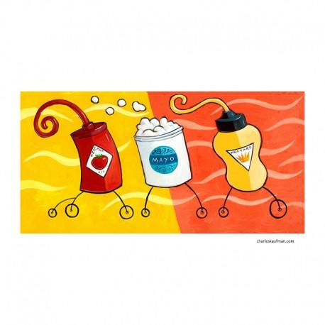 """3D Graphic: """"Ketchup, Mayo, Mustard"""""""