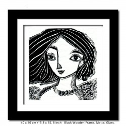 """Linoprint: """"Woman with Black Hair"""" with frame."""