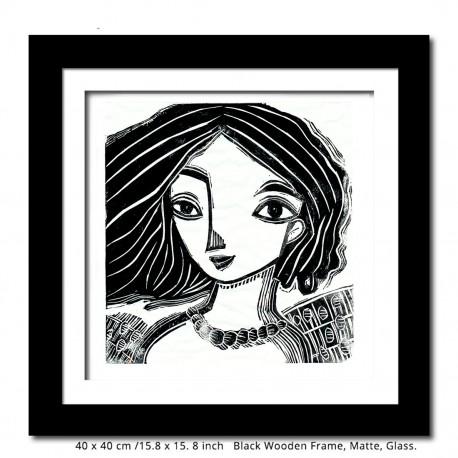 """Linoprint: """"Black Hair"""""""