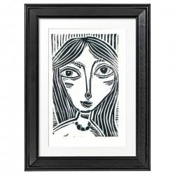"Linoprint: ""Black Hair"" with frame."