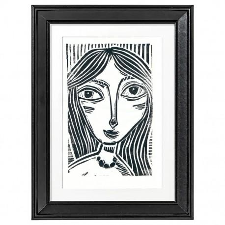"Linoprint: ""Woman with Black Hair"""