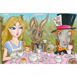 """Giclée Print on Fine Art Paper by Charles Kaufman: """"Alice in Wonderland. The Tea Party""""."""
