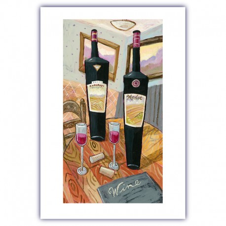 """Giclée Print on Fine Art Paper by Charles Kaufman: """"Wine on a Table""""."""