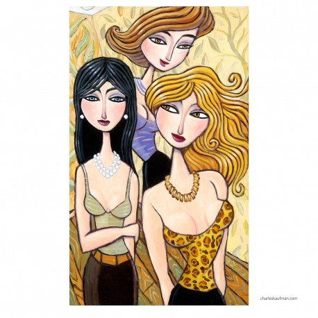 """Giclée Print on Fine Art Paper by Charles Kaufman: """"A Slew of Fashionable Guests""""."""