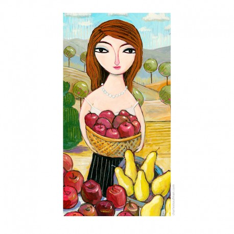 """Giclée Print on Fine Art Paper by Charles Kaufman:  """"Pears and Apples""""."""