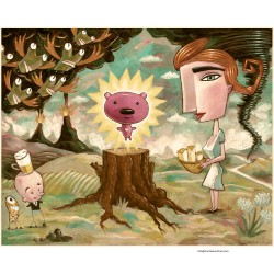 """Giclée Print on Fine Art Paper by Charles Kaufman:  """"An Offering of Cheese""""."""