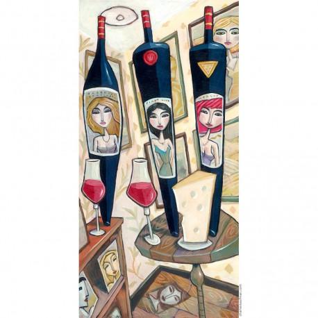 "Giclée Print on Fine Art Paper by Charles Kaufman: ""Cabernet,Merlot,Pinot""."