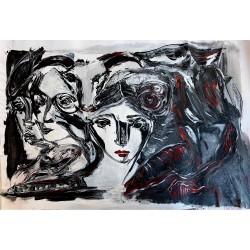 "Giclée Print on Canvas by Yasmina S: ""Hunda amo"" (Love of Dogs)."