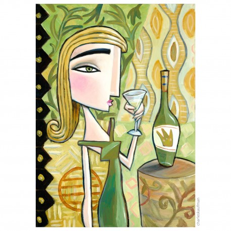 """Giclée Print on Canvas: """"Woman with White Wine"""""""