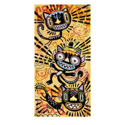 "Giclée Print on Fine Art Paper by Charles Kaufman: ""Crazy Cats""."