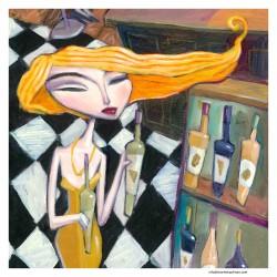 "Giclée Print on Canvas: ""Choosing a Wine"""