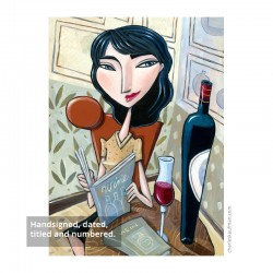 "3D Graphic: ""Woman Reading a Wine Book"""