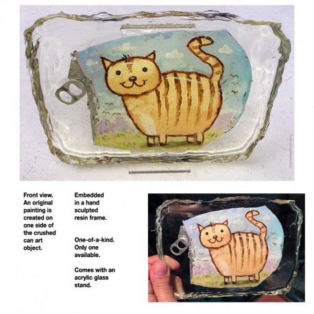 "Crushed Can Art: ""Happy Fat Cat"""