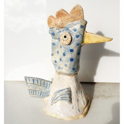 """Ceramic: """"Chicken with Blue Polka Dots"""""""