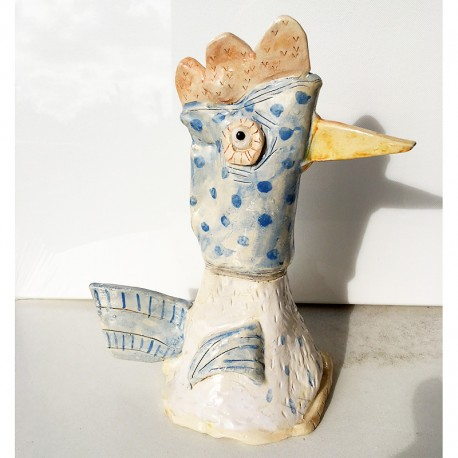 "Skulptur: ""Chicken with Blue Polka Dots"""