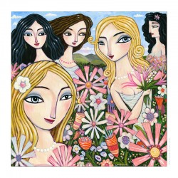 "Giclée-Druck auf Leinwand: ""In a Field of Flowers"""