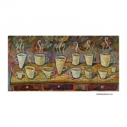 "Giclée-Druck auf Leinwand:  ""Coffee on a Table"""