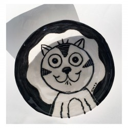 "Sculpture: ""Bowl - Happy Cat"""