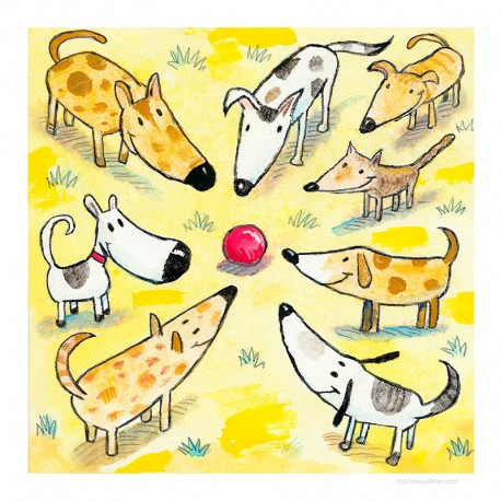 "3D Graphic: ""Eight Dogs, One Ball"""