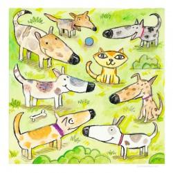 "3D Grafik:""Seven Dogs, One Cat"""