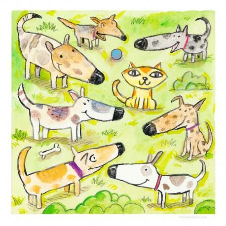 "3D Grafik: ""Seven Dogs, One Cat"""