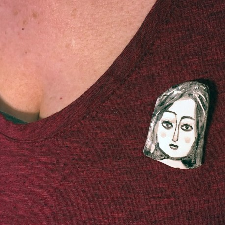 "Porcelain Pin: ""Woman with Black Hair"""