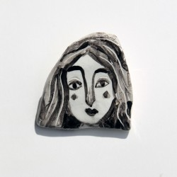 "Porcelain Pin: ""Woman with Black Hair-2"""