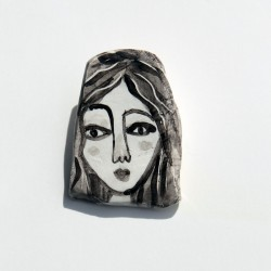 "Porcelain Pin: ""Woman with Black Hair-3"""