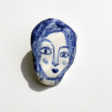 "Porcelain Pin: ""Woman with Blue Hair-1"""